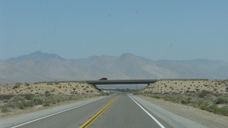 Hiway14 and Hiway395 merge up ahead, ending Hiway14 near Inyokern Airport.
