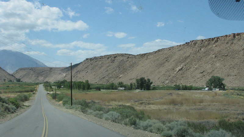 Pleasant Valley campground is on the right and the reservoir is up in the valley and part of the Owens River system.