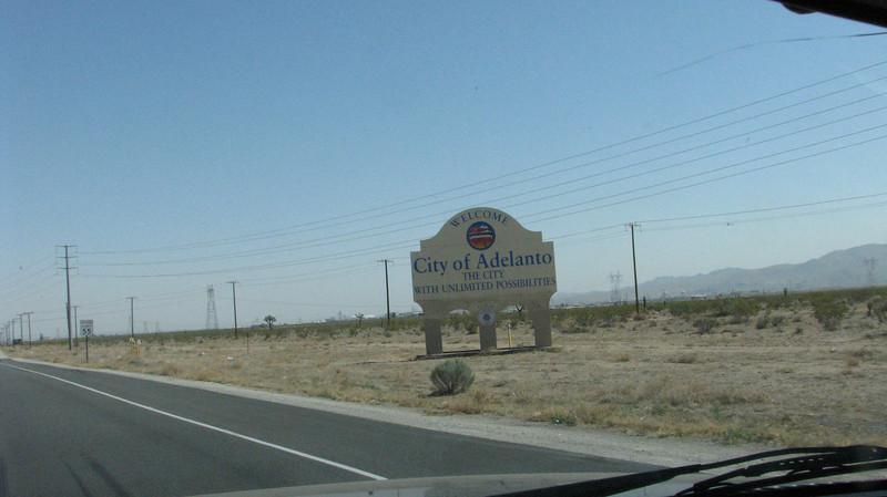 Passing through the desert town of Adelanto.
