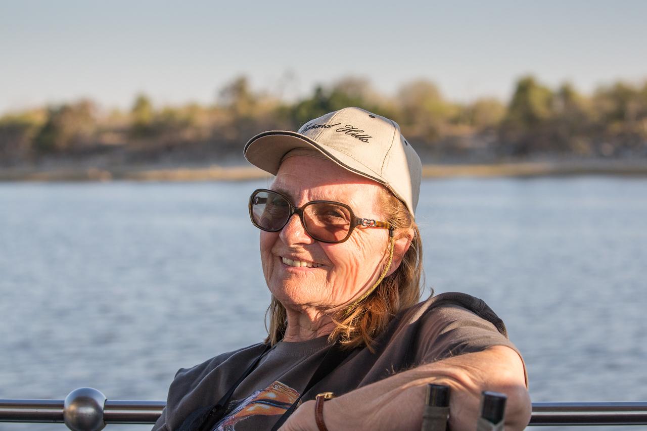 Joyce enjoying the ride on the Chobe River