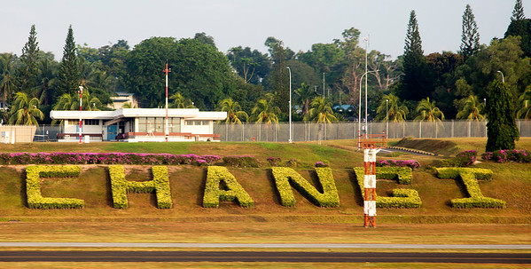 Changi Aeroport's name spelled out in topiary plantings