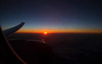 Night falls over the eastern states as we head toward Moscow.
