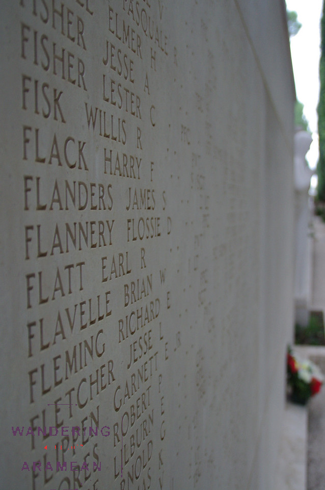The memorial wall in the American Cemetery; names of the dead for whom there was no body recovered