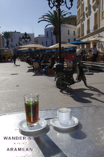 A casual afternoon tea in the square on the edge of the medina in Tunis