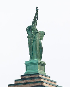 ... with twin statues of Lady Liberty.