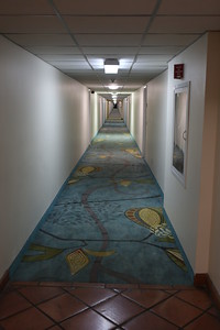 The long and not so winding road to our vacation rental suite...end of the hallway