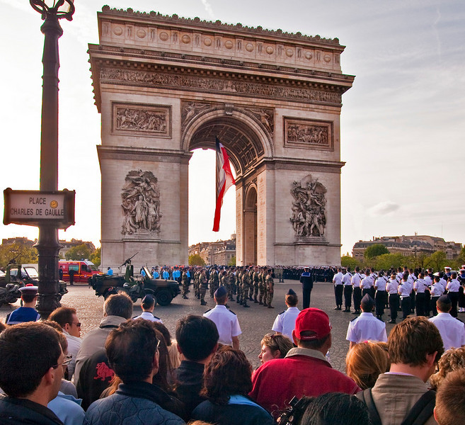 "Arriving in Paris on May 8th, we were reminded that it was V-E Day (Victory in Europe---the end of WW 2 in Europe). Late in the afternoon we joined a crowd of very respectful Parisians to observe ceremonies at the Arc de  Triomphe. The playing of ""La Marseillaise"" was moving. Recalling that her father, Colonel Collins, rode down the Champs Elysee soon after the liberation of Paris, was an emotional experience for Mary."
