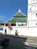 Kampung Kling Mosque. The architecture borrows from Sumatran, Chinese, Hindu, and the Melaka Malay.
