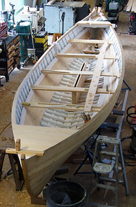 A whaleboat under construction
