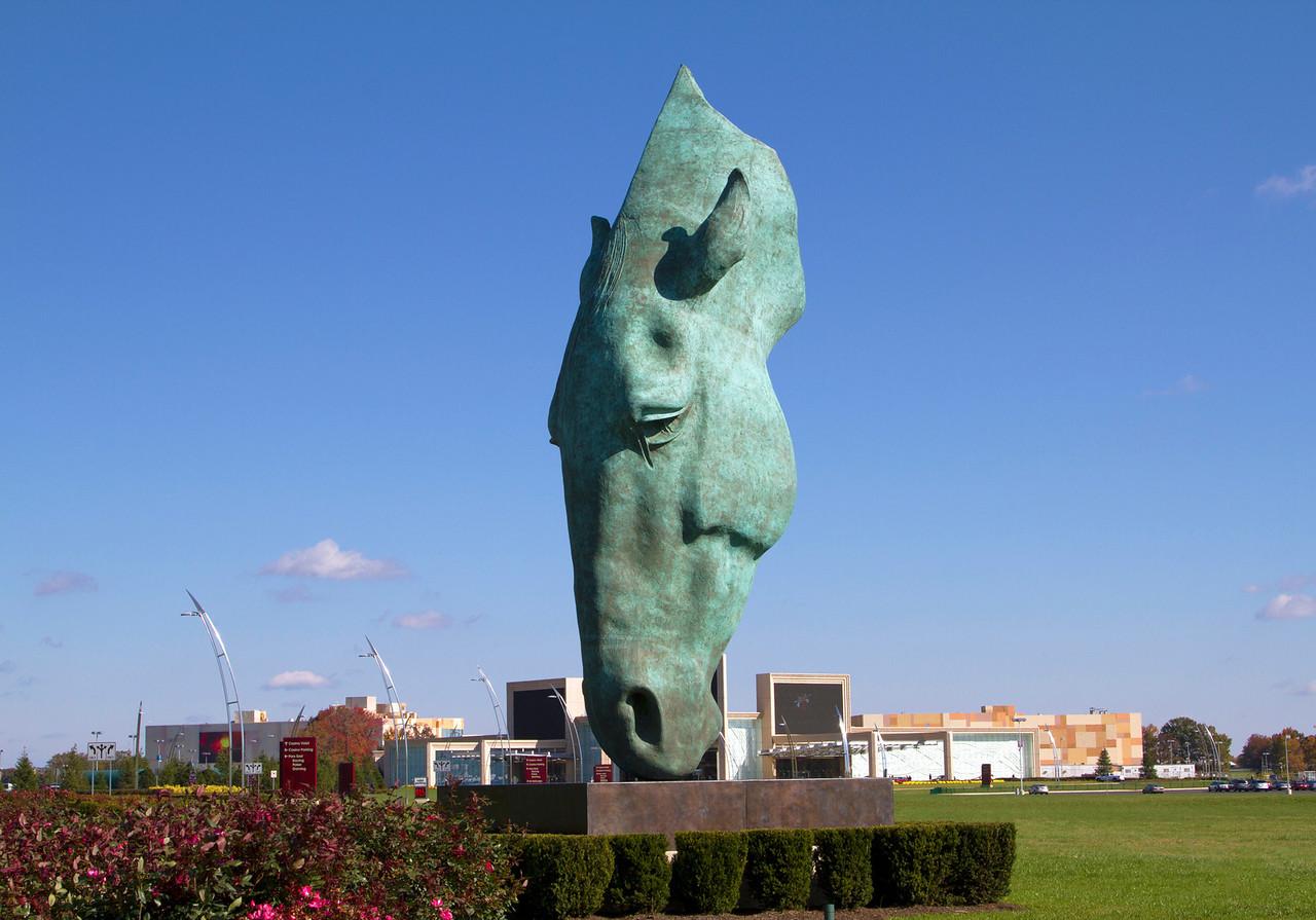 Horse's head sculpture at a casino
