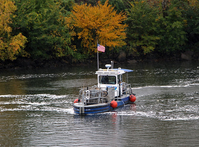 Trash pickup boat in the Schuykill River