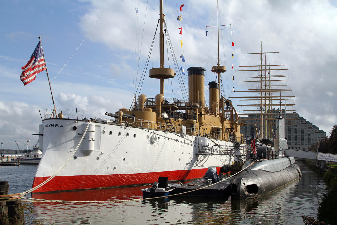 Battleship Olympia and WW-II submarine Becuna, moored at the Independence Seaport Museum