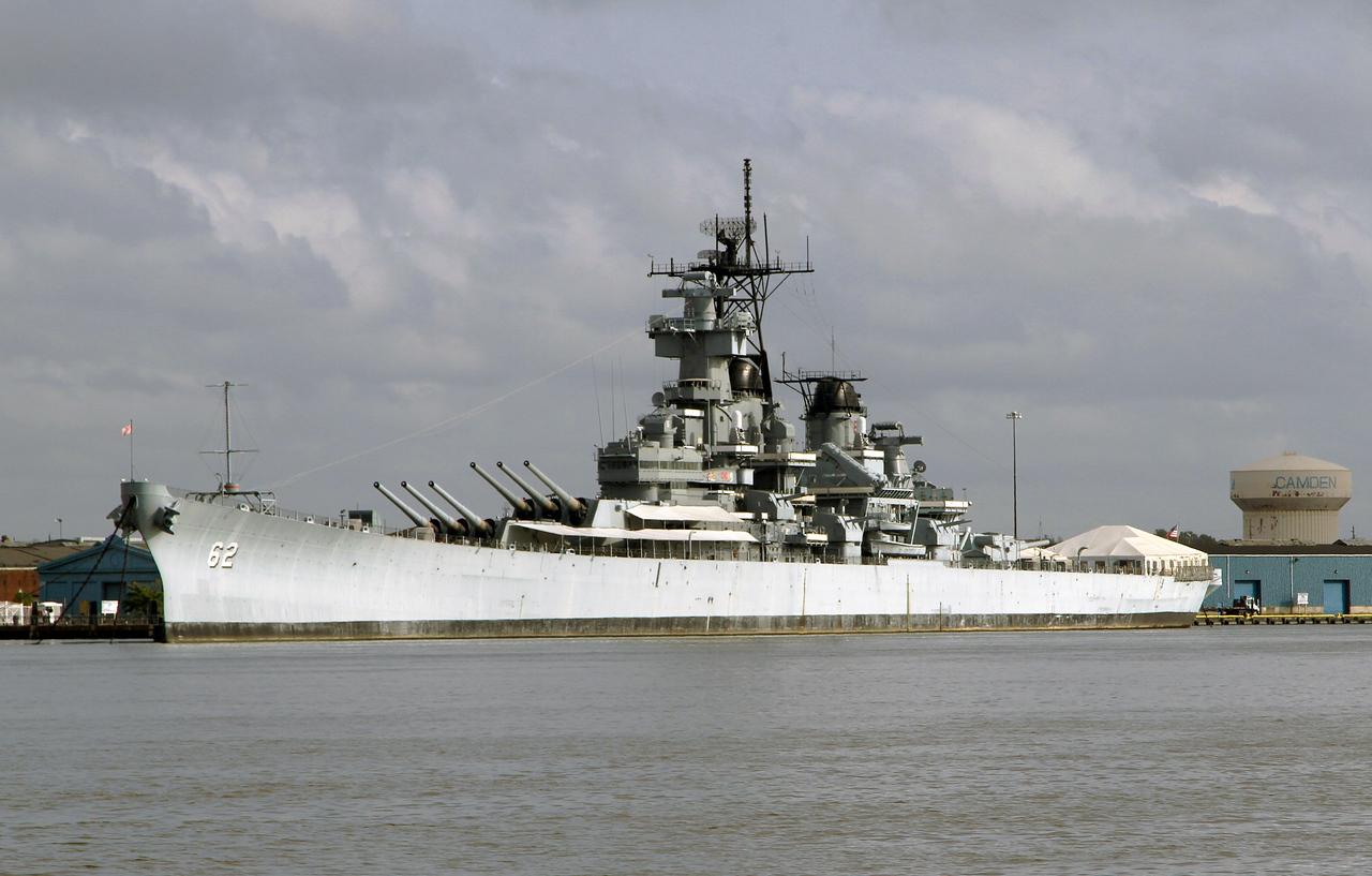 The Battleship New Jersey moored in the Delaware River