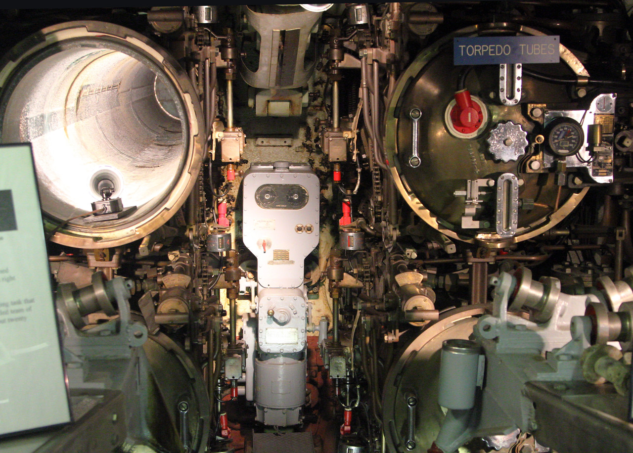 The Becuna's forward torpedo tubes