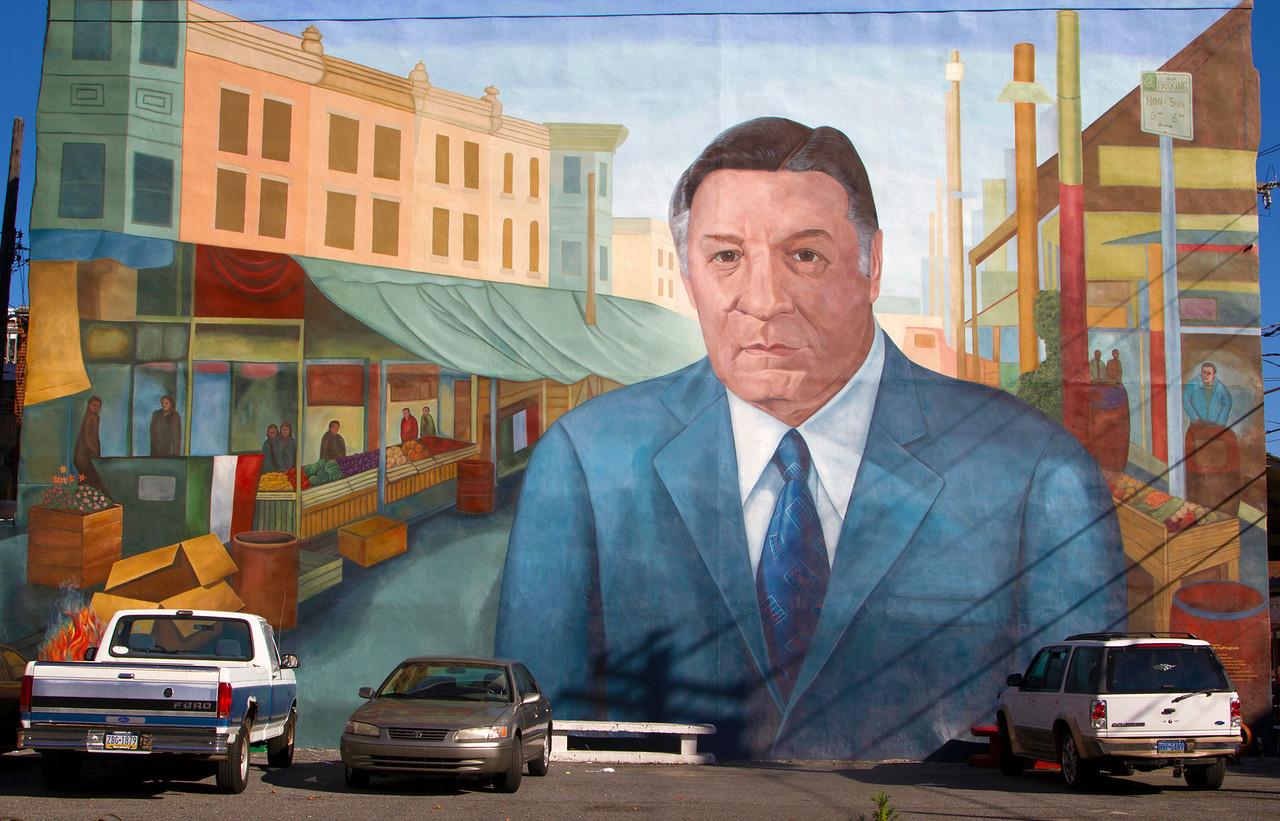 Heroic wall painting of former Philadelphia mayor Frank Rizzo