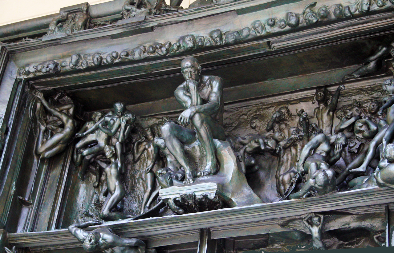 Detail of the top of Rodin's The Gates of Hell