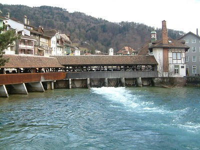 In Thun, covered bridge