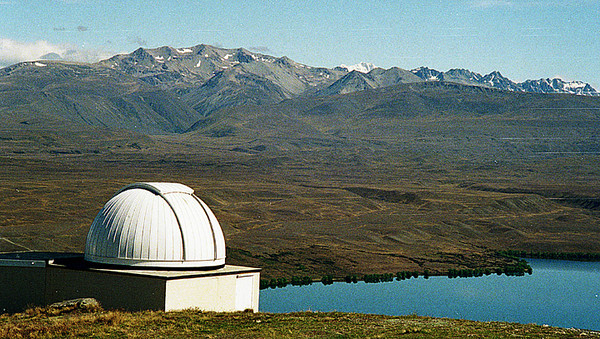 Mount Hope Observatory on NZ's South Island. The snow-capped peak in the middle is Mt. Cook, the highest mountain in NZ.