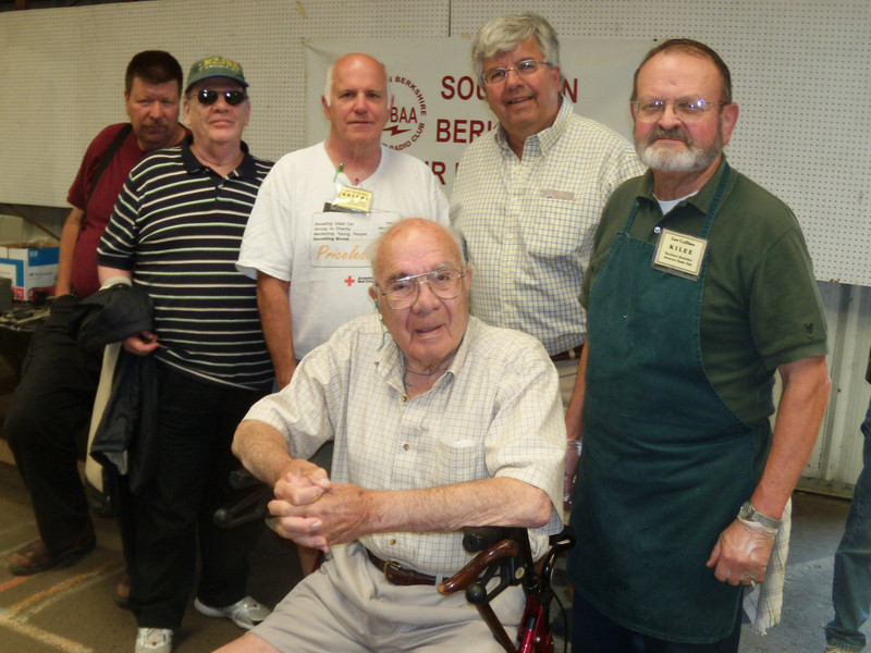 WHY I came-------Get Dad out and about---here he is with some of his old Amateur Radio friends, who I happened to know were having their Annual Swap Meet at the Goshen Fairgrounds !
