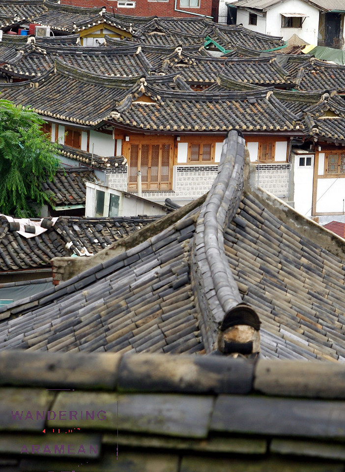 A view of the Gahoi-dong neighborhood and the Bukchon traditional hanok village