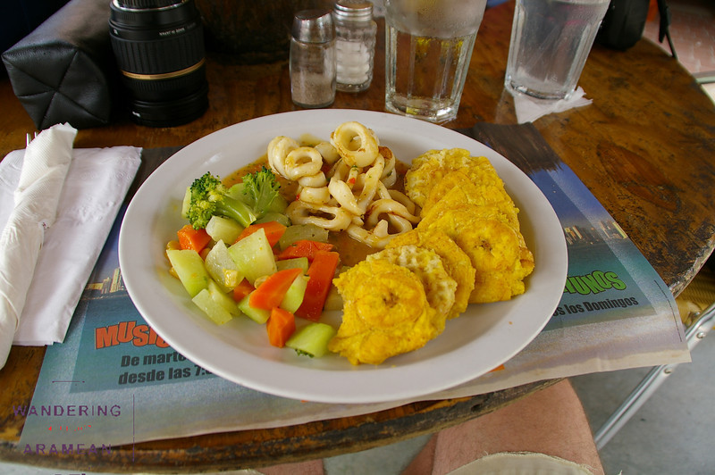 Calamares and fried plantains