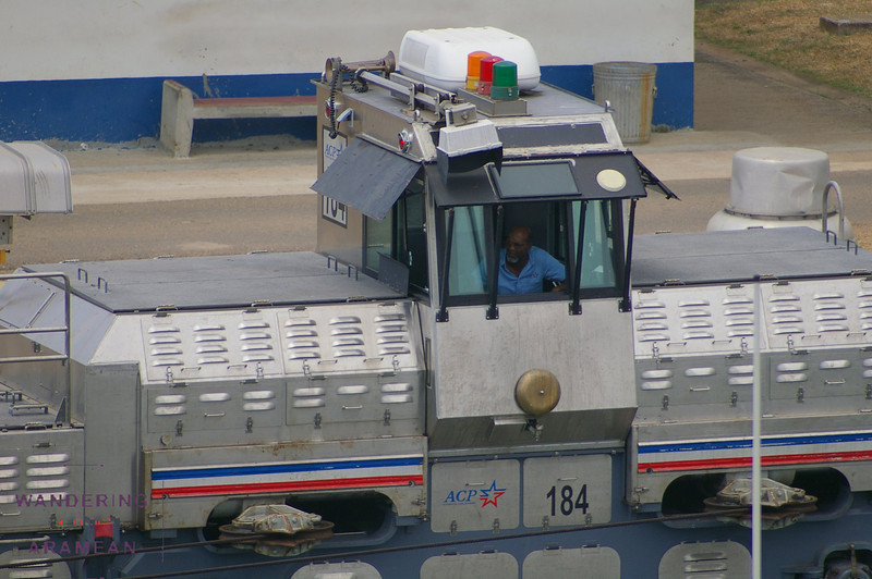 One of the many locomotive operators on the Panama Canal