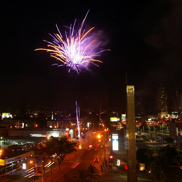 Fireworks outside out hotel room in Panama City