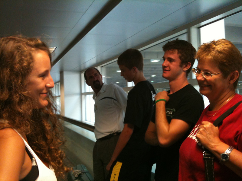 Saying bye to Romane on her way back to France
