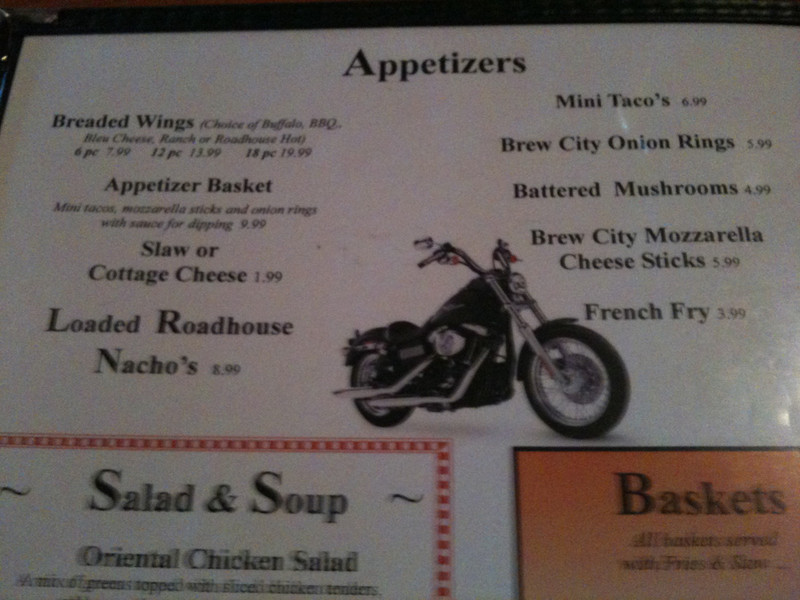 Dinner at the Roadhouse - motorcycle theme