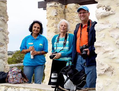 Our guide Shirley with Carol and Greg at an Island lookout post.