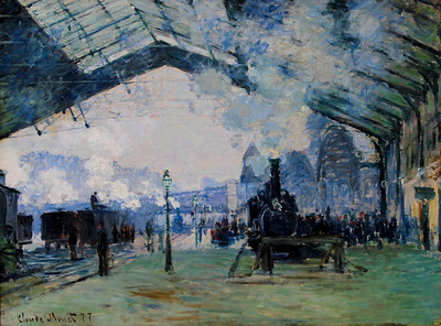 "Claude Monet's 1877 impressionist: ""Arrival of the Normandy Train, Gare Saint-Lazare"""