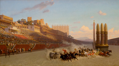 "Jean Leon Gerome was the leading traditionalist salon artist.  This is his 1876 ""Chariot Race""."