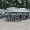 Bicycle parking at the railway station. Bikes are a favourite means of travel in Belgium.