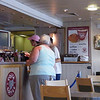 On the ferry at Hull, getting some food.