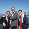 Tammy, Mike and Alex on the ferry after arrival in Zeebrugge