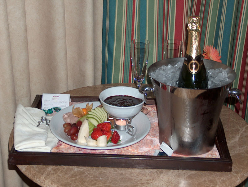 after walking around town in the cold windy weather, we returned to the hotel for fresh fruit with chocolate fondue and champagne in our room