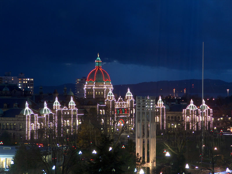 the Parliament building all lit-up in Christmas regalia at night