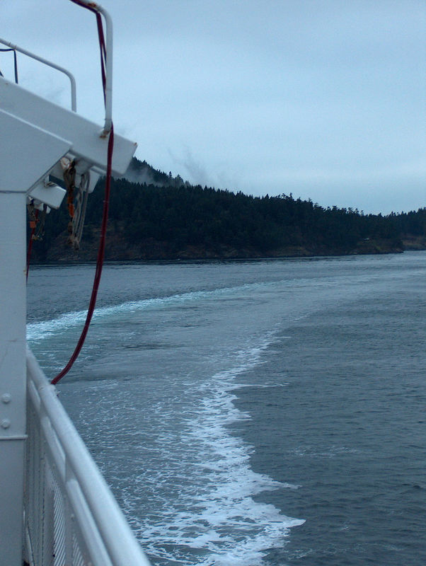 making a turn around one of the islands in the straits