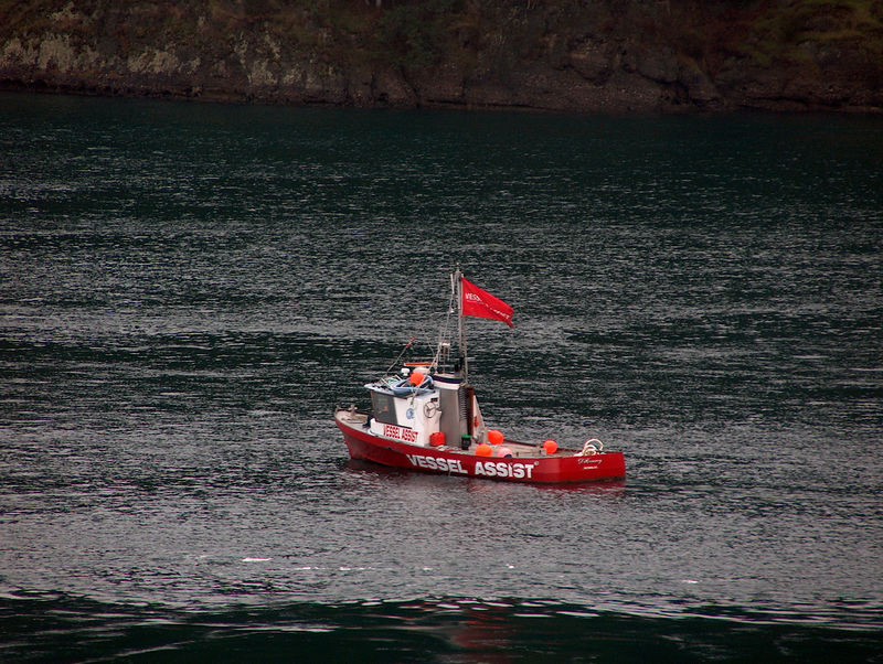 a good sized emergency assistance boat lingering in the straits