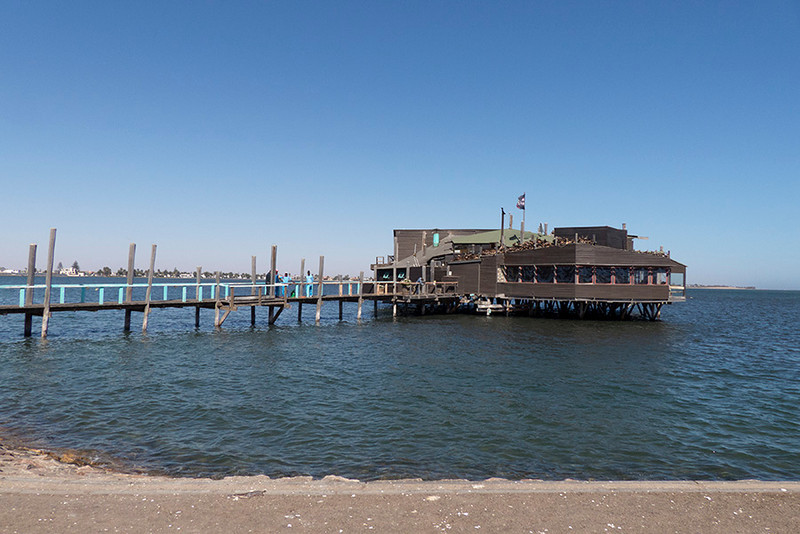 After arriving in the town of Swakopmund, the first order of business was lunch at a Walvis Bay restaurant that is literally in the bay.