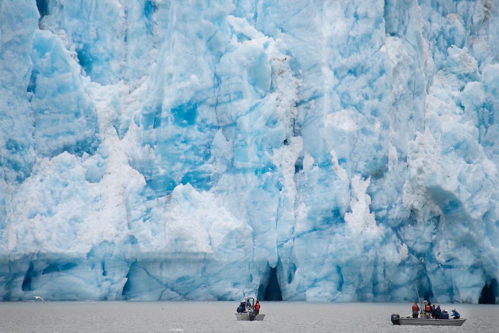 This photo puts the prodigious glacier into perspective.