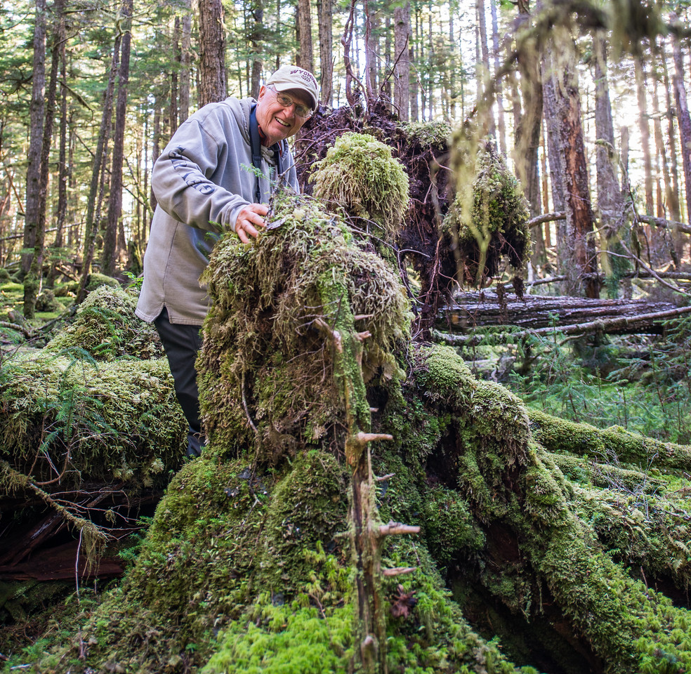 Jim made another new friend!  The forest is very old with accumulations of logs and sticks covered with moss and lichen. Kind of creepy looking isn't it? This guy wasn't the only act in town either!