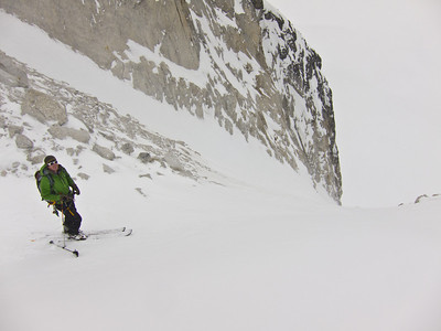 Dan looking into a couloir off the Pika Glacier