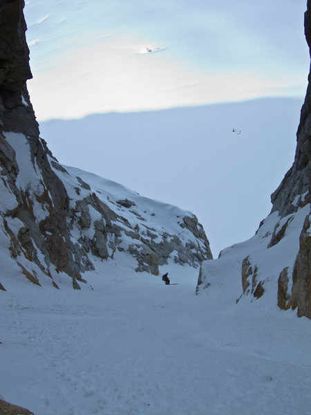 Dan in a couloir on the north side of the Gargoyle, Ruth Glacier