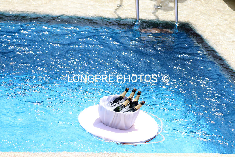 CHAMPAGNE floating in ice bucket in pool.