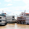 Several FERRY BOATS tied up to dock - PARINTINS, Brazil