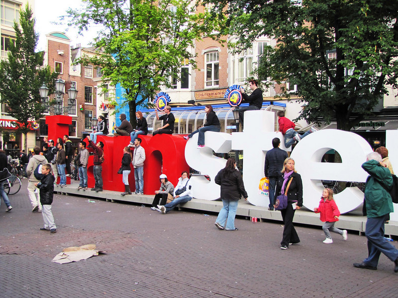 16-I amsterdam, Leidse Plein. I bought an I-amsterdam card to get free transit for 72 hours and free or discount admissions to museums and concerts.