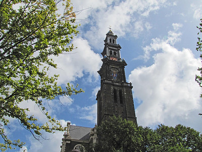 39-The Anne Frank Museum is next to West Church (Westerkerk) 1631.