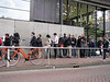 35-Queue at Anne Frank Museum. Cafeteria above at glass windows.