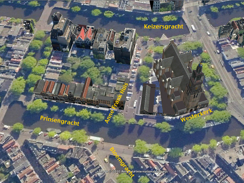 Google earth representation of area around the Anne Frank Museum (which seems to wrap around the former house/office/warehouse of Otto Frank—you can't see the house exterior). Upcoming photos were taken in this area.